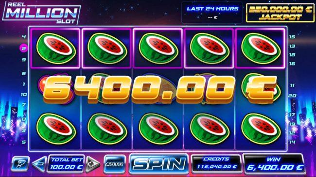 Reel Million Slot :: Multiple winning paylines triggers a big win