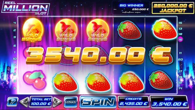 Reel Million Slot :: Scatter win triggers the bonus feature