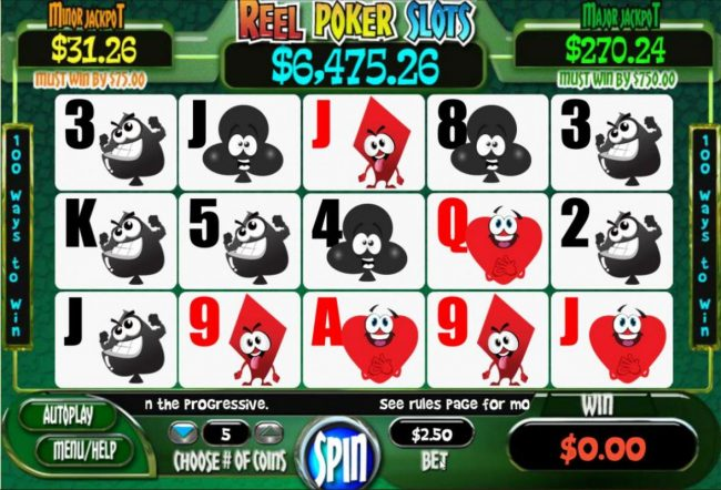 Lincoln featuring the Video Slots Reel Poker with a maximum payout of Jackpot