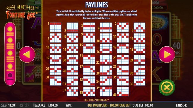 Reel Riches Fortune Age :: Paylines 1-40