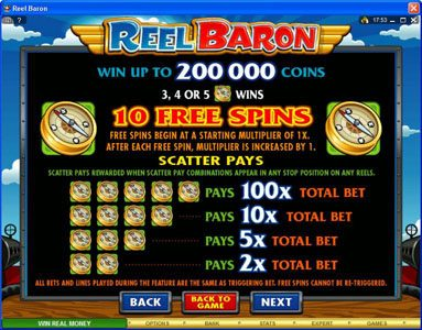 Casimba featuring the Video Slots Reel Baron with a maximum payout of $10,000