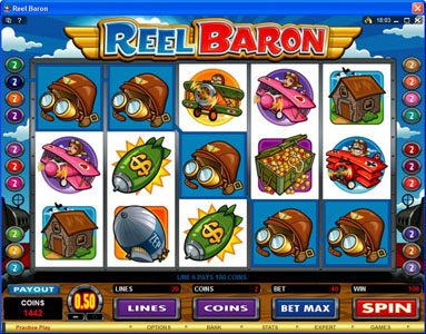 Sky Vegas featuring the Video Slots Reel Baron with a maximum payout of $10,000