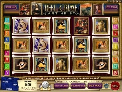 Play slots at Gibson: Gibson featuring the Video Slots Reel Crime Art Heist with a maximum payout of $3,750