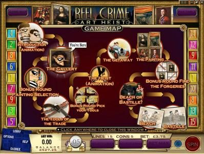 CoCoa featuring the Video Slots Reel Crime Art Heist with a maximum payout of $3,750