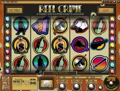 Euro Bets featuring the Video Slots Reel Crime Bank Heist with a maximum payout of $3,750