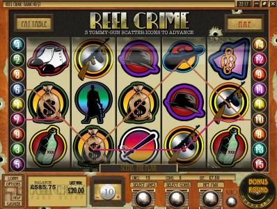 Slots Jackpot featuring the Video Slots Reel Crime Bank Heist with a maximum payout of $3,750