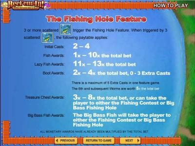 The Fishing Hole Feature game rules continued.