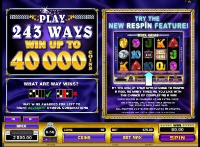 Vegas Paradice featuring the Video Slots Reel Gems with a maximum payout of $120,000