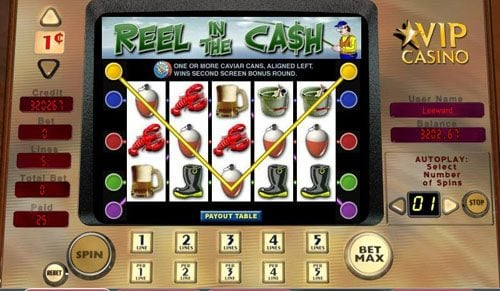 EU Casino featuring the video-Slots Reel in the Cash with a maximum payout of 2,500x