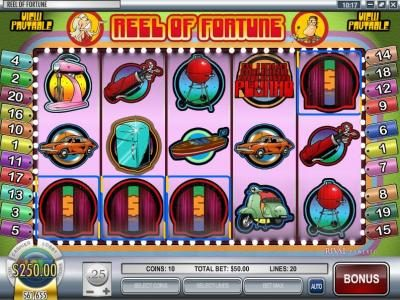 Riviera Play featuring the Video Slots Reel of Fortune with a maximum payout of $3,750