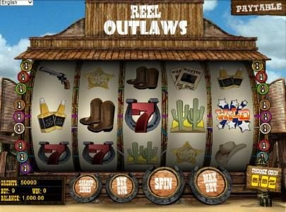 Vegas Days featuring the Video Slots Reel Outlaws with a maximum payout of $10,000