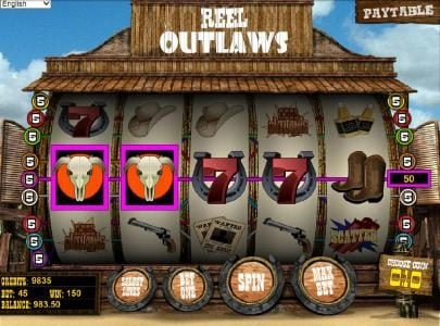Reel Outlaws :: multiple winning paylines triggers a 150 coin jackpot