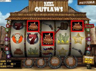 Mister Winner featuring the Video Slots Reel Outlaws with a maximum payout of $10,000