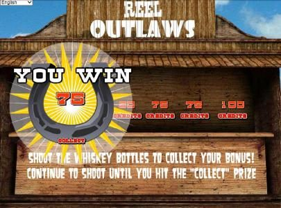 Magik Slots featuring the Video Slots Reel Outlaws with a maximum payout of $10,000