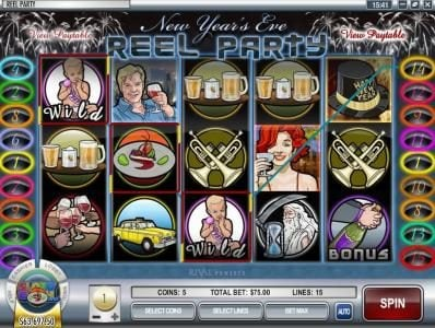 Mayan Fortune featuring the Video Slots Reel Party with a maximum payout of $50,000