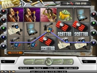 Reel Steal :: free bonus spins triggered when three or more scatter symbols appear on any reels