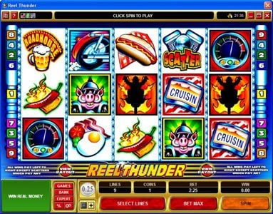 Rose Slots featuring the Video Slots Reel Thunder with a maximum payout of $20,000
