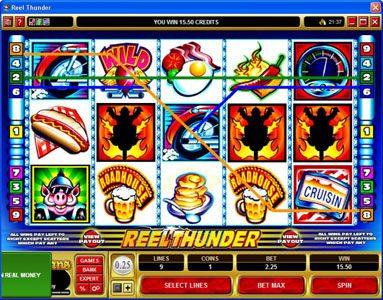 Chanz featuring the Video Slots Reel Thunder with a maximum payout of $20,000