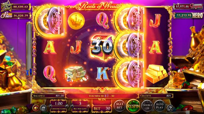Split Aces featuring the Video Slots Reels of Wealth with a maximum payout of $67,400