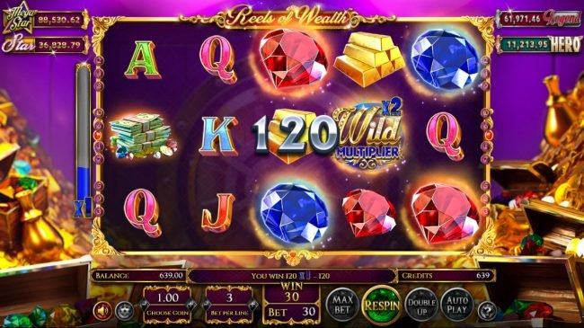 Carbon Casino featuring the Video Slots Reels of Wealth with a maximum payout of $67,400