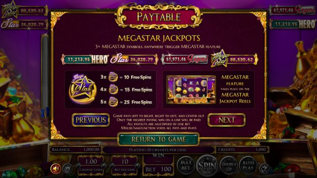 Vegas Days featuring the Video Slots Reels of Wealth with a maximum payout of $67,400