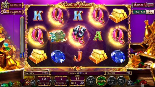 21 Grand featuring the Video Slots Reels of Wealth with a maximum payout of $67,400