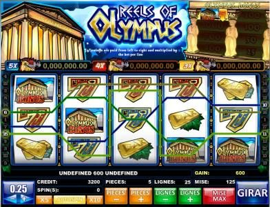 Wicked Bet featuring the Video Slots Reels of Olympus with a maximum payout of Jackpot