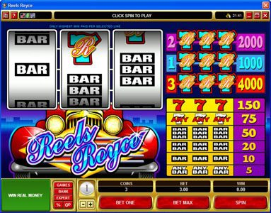 Play slots at First Web: First Web featuring the Video Slots Reels Royce with a maximum payout of $20,000