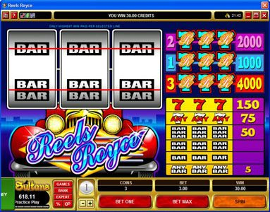Chanz featuring the Video Slots Reels Royce with a maximum payout of $20,000