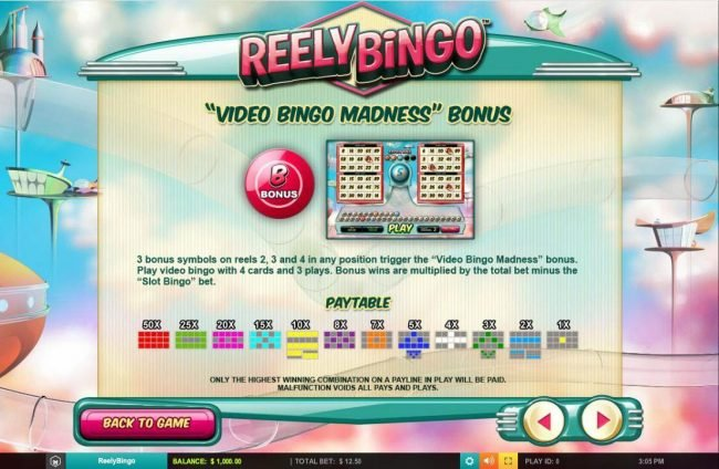 Lightbet featuring the Video Slots Reely Bingo with a maximum payout of $125,000