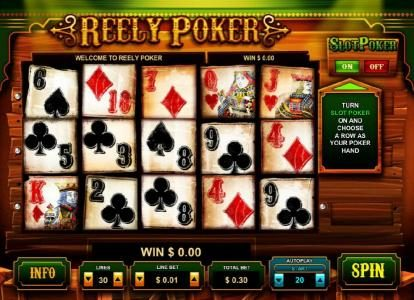 Reely Poker :: main game board featuring five reels and thirty paylines