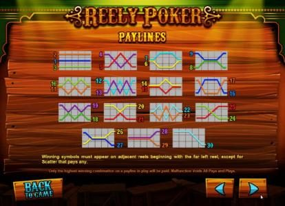 Reely Poker :: payline diagrams
