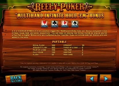 Reely Poker :: multihand infinite hold 'em bonus feature rules