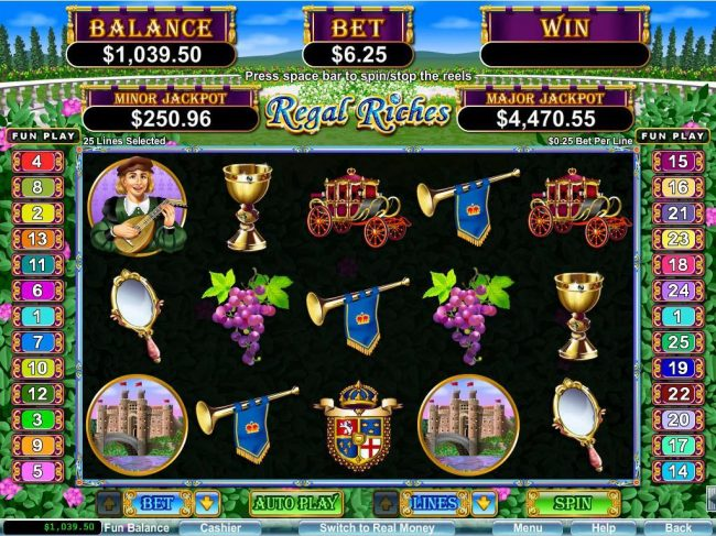 A royalty themed main game board featuring five reels and 25 paylines with a $250,000 max payout