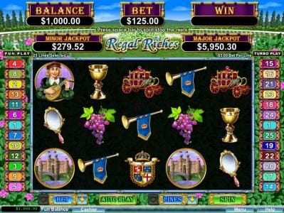 Play slots at Mighty Slots: Mighty Slots featuring the Video Slots Regal Riches with a maximum payout of $250,000