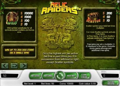 Yako Casino featuring the Video Slots Relic Raiders with a maximum payout of $20,000