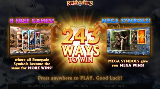 Secret Slots featuring the Video Slots Renegades with a maximum payout of $200,000