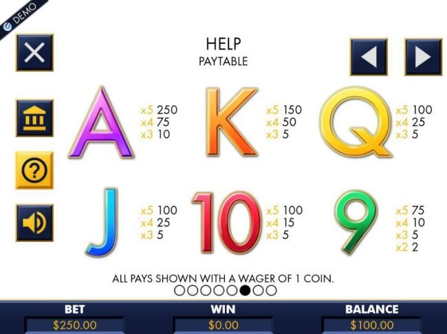 Low value game symbols paytable.