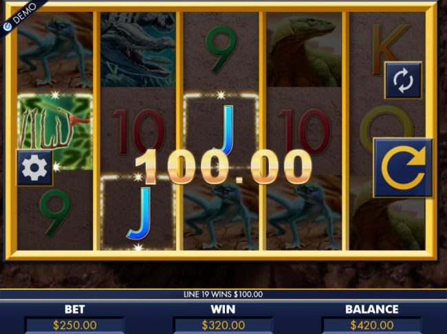 Multiple winning paylines triggers a 320.00 big win!