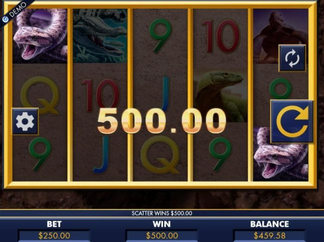 A pair of scatters triggers a 500.00 payout.