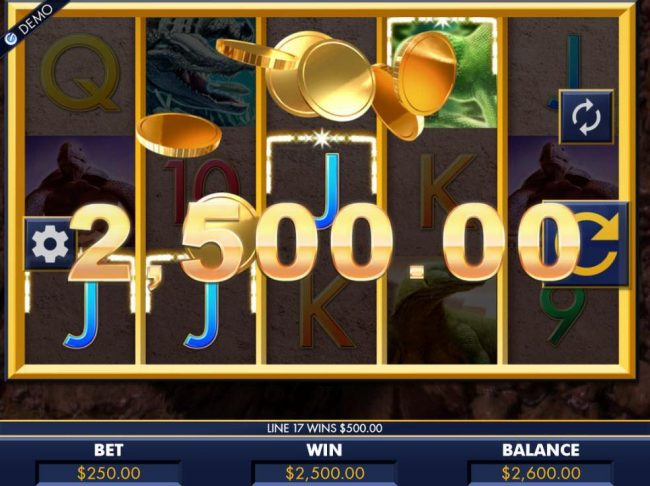 A 2,500.00 big win triggered by multiple winning combinations.