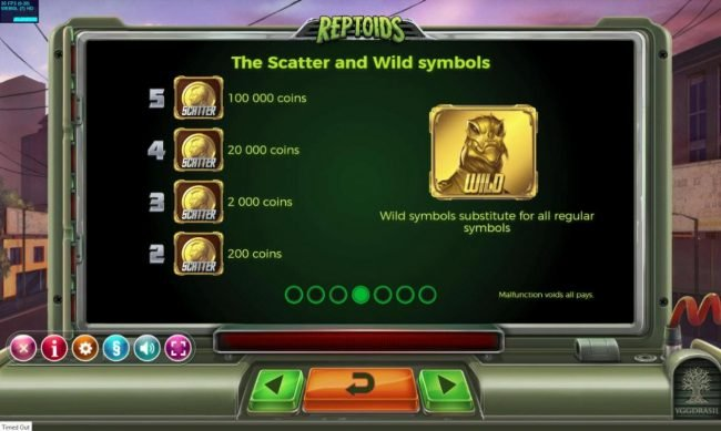 Reptoids :: Wild and Scatter Symbols Rules and Pays