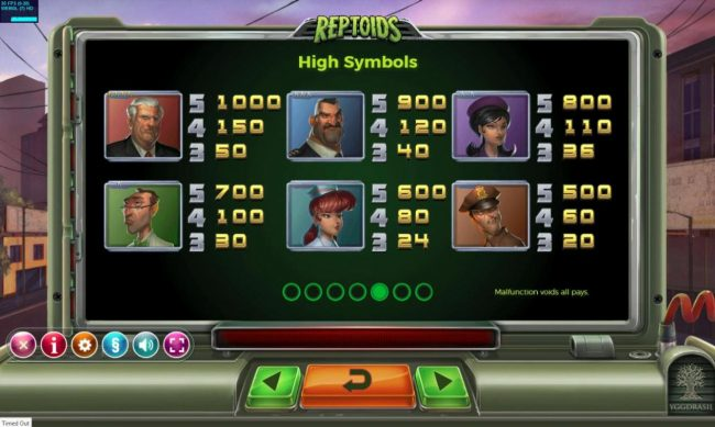 Reptoids :: High value slot game symbols paytable