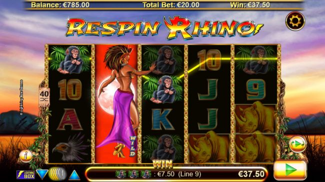 Deuce Club featuring the Video Slots Respin Rhino with a maximum payout of $21,000