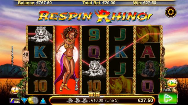 TS featuring the Video Slots Respin Rhino with a maximum payout of $21,000
