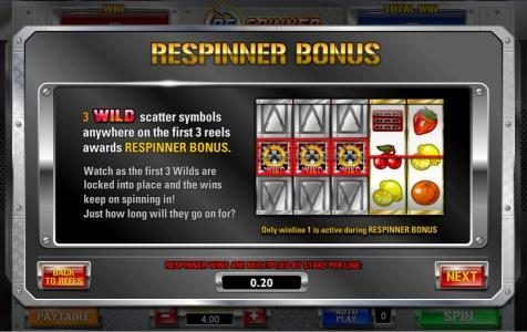 Mega Casino featuring the Video Slots Respinner with a maximum payout of 5,000x