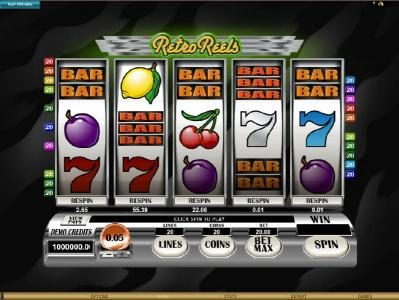 Play slots at Zet Casino: Zet Casino featuring the Video Slots Retro Reels with a maximum payout of $110,000