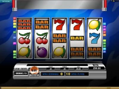five BAR symbols triggers a 250 coin jackpot payout