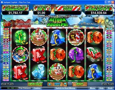 Play slots at Slots Oasis: Slots Oasis featuring the Video Slots Return of the Rudolph with a maximum payout of $250,000