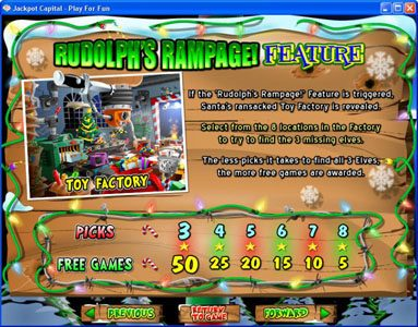 Plenty Jackpots featuring the Video Slots Return of the Rudolph with a maximum payout of $250,000